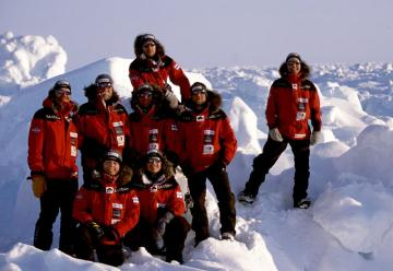 Magnetic North Pole expedition. Kari Vainio (second row, second person from left) acts as the support team leader, others will ski.